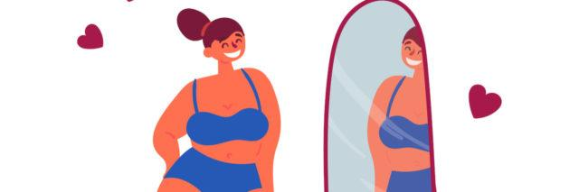 An illustration of a fat woman looking in the mirror