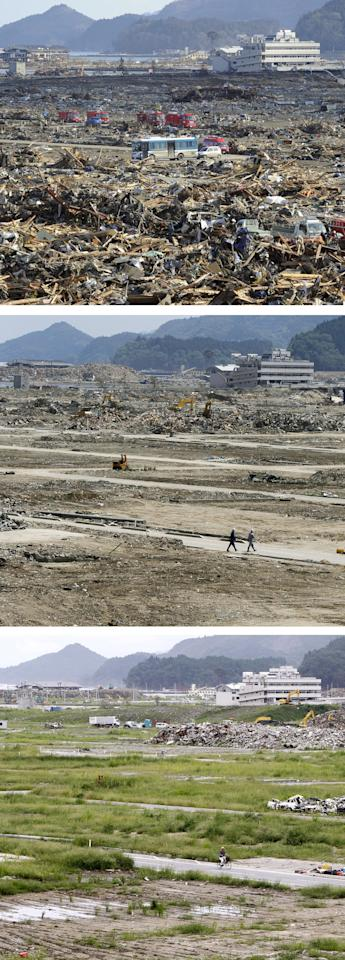 In this combination of three photos taken over a six-month period shows aftermath of the March 11, 2011 tsunami and its cleanup progress in Rikuzentakata, Iwate Prefecture, in northeastern Japan. The top photo, taken March 18, 2011, shows police and fire fighting vehicles parked in the middle of the rubble after the tsunami. The middle photo, taken June 6, 2011, shows two workers walking in the same area while debris removing works go on in the background, while the bottom photo taken Sept. 5, 2011 shows a man on a bicycle pedaling past the grass-covered land. (AP Photo/Kyodo News) JAPAN OUT, MANDATORY CREDIT, NO LICENSING IN CHINA, FRANCE, HONG KONG, JAPAN AND SOUTH KOREA