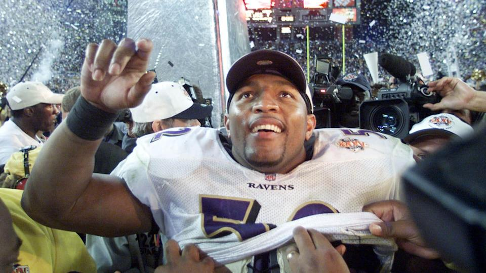 Mandatory Credit: Photo by Rick Bowmer/AP/Shutterstock (6031199a)Ray Lewis Baltimore Ravens linebacker Ray Lewis smiles after defeating the New York Giants 34-7 and being named the MVP of Super Bowl XXXV in Tampa, Fla.