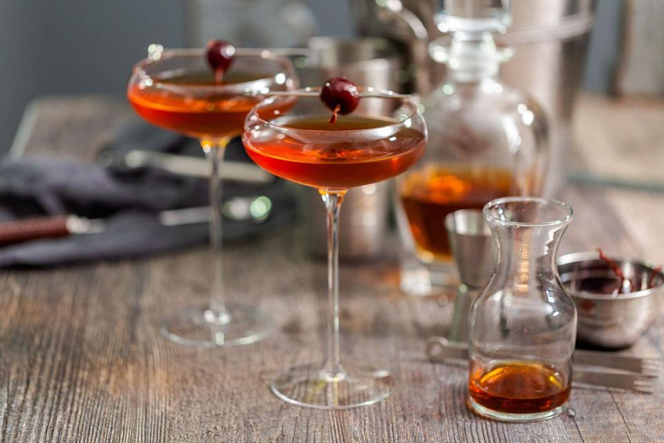 "<p>One of the earliest records of the <a href=""https://www.delish.com/uk/cocktails-drinks/a30925933/manhattan-cocktail/"" rel=""nofollow noopener"" target=""_blank"" data-ylk=""slk:Manhattan"" class=""link rapid-noclick-resp"">Manhattan</a> cocktail dates back to the late 1800s, although - like so many cocktails - the origins of the Manhattan are lost in time. Traditionally served in a cocktail glass and garnished with a maraschino cherry, the Manhattan represents a strong, sensible individual with a warm and feminine edge. Just like the cocktail itself, a Manhattan drinker has an underlying sweetness, a softer side to its sturdy exterior. </p>"