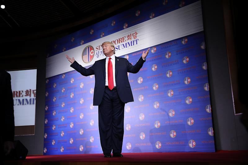 """In anews conference immediately following their meeting, Trump saidKim had agreed to start the process of nuclear disarmament """"right away."""" (Win McNamee/Getty Images)"""