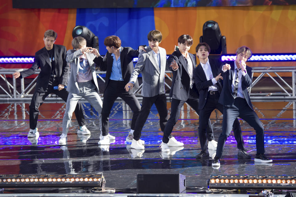 """South Korean boy band BTS perform on ABC's """"Good Morning America at Rumsey Playfield/SummerStage in Central Park on Wednesday, May 15, 2019, in New York. (Photo by Scott Roth/Invision/AP)"""