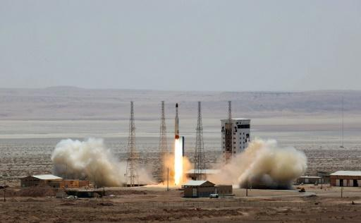 Iran has said the scientific observation satellite Zafar would be launched into orbit by a Simorgh rocket like the one seen in this picture released by the defence ministry in July 2017