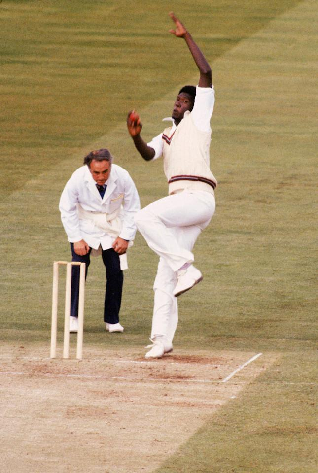 Jun 1979:  Joel Garner of the West Indies bowling during the World Cup Final at Lords in London, England. \ Mandatory Credit: Adrian Murrell /Allsport