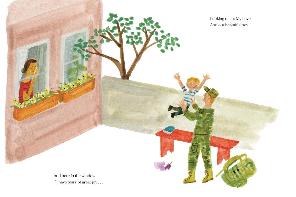 The illustrations feature one of a man in army fatigues returning home. (Penguin)