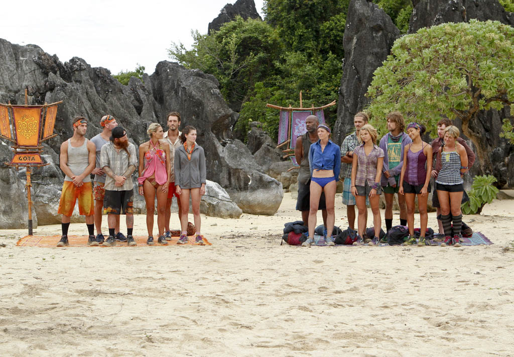"""Operation Thunder Dome"" - The Gota and Bikal Tribes line up during the sixth episode of ""Survivor: Caramoan - Fans vs. Favorites."""