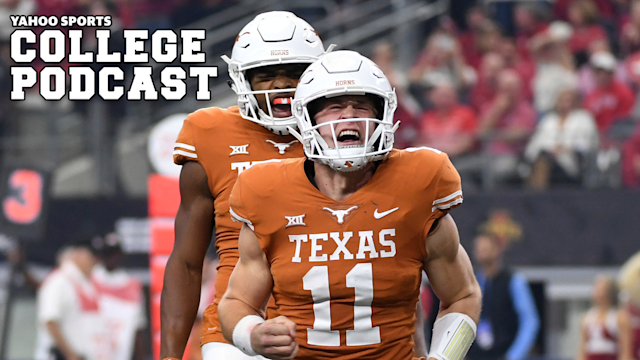 """Texas quarterback <a class=""""link rapid-noclick-resp"""" href=""""/ncaaf/players/275098/"""" data-ylk=""""slk:Sam Ehlinger"""">Sam Ehlinger</a> celebrates after a touchdown run against Oklahoma in 2018. Will the Longhorns or Sooners take the title? Or will Mike Gundy and Oklahoma State take the Big 12 in 2020? Tune into our State of the Conference preview to find out. (AP Photo/Jeffrey McWhorter)"""