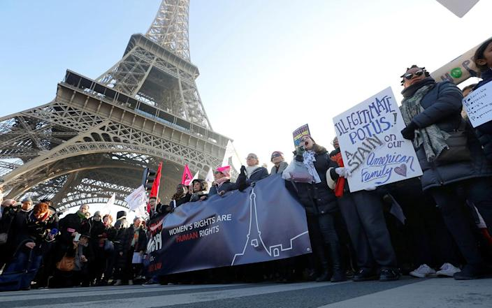 <p>Protesters take part in the Women's March on Paris jan. 21. The march formed part of a worldwide day of action following the inauguration of Donald Trump to U.S. president. (Reuters/Jacky Naegelen) </p>
