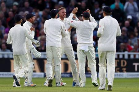 Cricket - England vs West Indies - First Test - Birmingham, Britain - August 19, 2017   England's Stuart Broad celebrates the wicket of West Indies' Jason Holder   Action Images via Reuters/Paul Childs