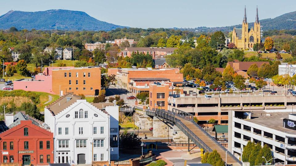 High angle view of Roanoke Virginia with famous church in the background -- St Andrews Catholic Church.