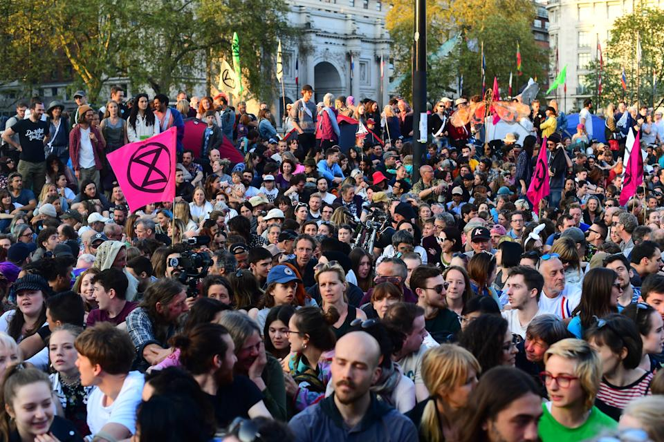 Extinction Rebellion demonstrators gathered at Marble Arch in London.