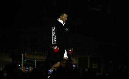 Britain Boxing - Anthony Joshua v Wladimir Klitschko IBF, IBO & WBA Super World Heavyweight Title's - Wembley Stadium, London, England - 29/4/17 Wladimir Klitschko makes his entrance before the fight Action Images via Reuters / Peter Cziborra Livepic