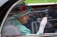 <p>Queen Elizabeth arriving by car for day five of Royal Ascot at Ascot Racecourse.</p>