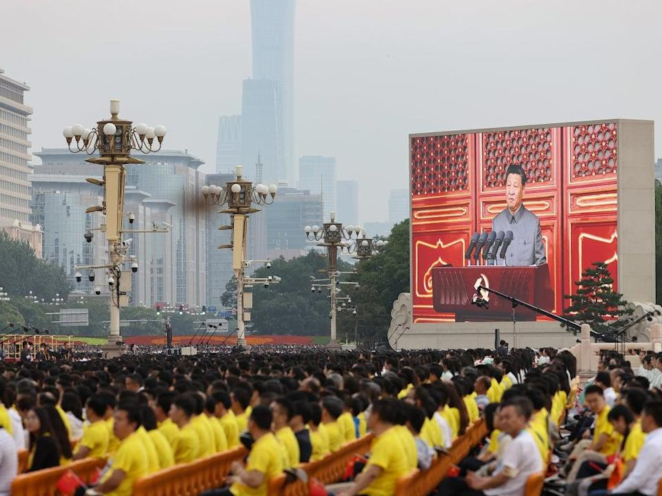File: A large screen shows Chinese President Xi Jinping makes a speech during the celebration marking 100th anniversary of Chinese Communist Party at Tiananmen  Square in Beijing.   (Getty images)