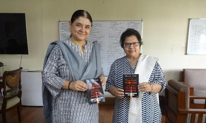 Author Minnie Vaid with Women and Child Development Minister Maneka Gandhi at the launch of the former's book - 'Those Magnificent Women and their Flying Machines: ISRO'S Mission to Mars' in Delhi in March 2019.