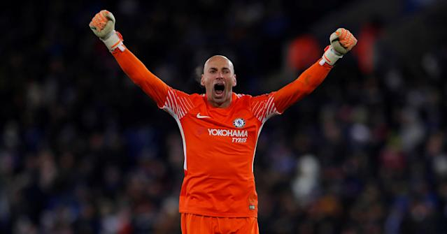 Soccer Football - FA Cup Quarter Final - Leicester City vs Chelsea - King Power Stadium, Leicester, Britain - March 18, 2018 Chelsea's Willy Caballero celebrates their second goal scored by Pedro Action Images via Reuters/Andrew Couldridge TPX IMAGES OF THE DAY