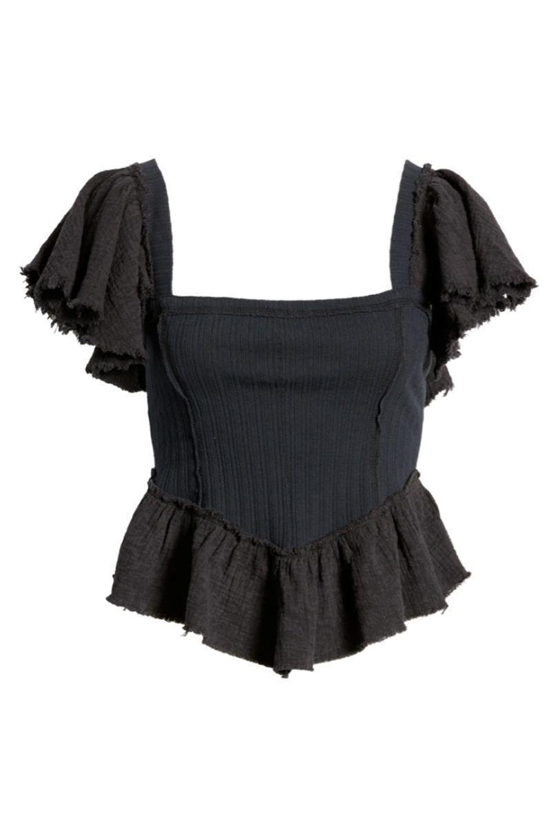 """<p><strong>FREE PEOPLE</strong></p><p>nordstrom.com</p><p><a href=""""https://go.redirectingat.com?id=74968X1596630&url=https%3A%2F%2Fwww.nordstrom.com%2Fs%2Ffree-people-daydreaming-ruffle-top%2F5942621&sref=https%3A%2F%2Fwww.harpersbazaar.com%2Ffashion%2Ftrends%2Fg36864532%2Fnordstrom-anniversary-sale-2021-womens-clothing-deals%2F"""" rel=""""nofollow noopener"""" target=""""_blank"""" data-ylk=""""slk:Shop Now"""" class=""""link rapid-noclick-resp"""">Shop Now</a></p><p><del>$98.00</del> $58.80 <strong>(40% off)</strong></p><p>Ever since <em>Bridgerton </em>made it onto our screens, a frilly sleeve seems all the more necessary. This top checks all the boxes. </p>"""