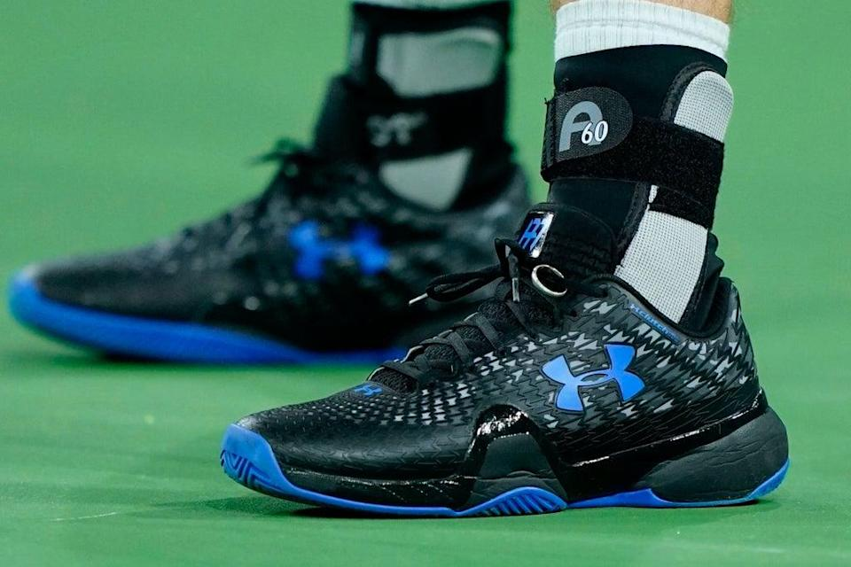 Andy Murray's wedding ring was back on his trainers as he took on Adrian Mannarino (Mark J. Terrill/AP) (AP)