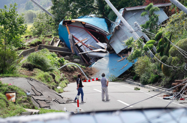 <em>Eight people have been killed after a powerful earthquake hit northern Japan (AP)</em>