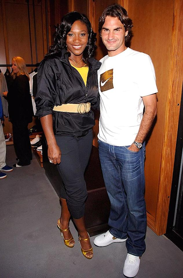 "Still glowing from their Olympic wins (in doubles), Serena Williams and Roger Federer attended the Nike Sportswear block party at one of the company's flagship stores in New York City. Jamie McCarthy/<a href=""http://www.wireimage.com"" target=""new"">WireImage.com</a> - August 21, 2008"