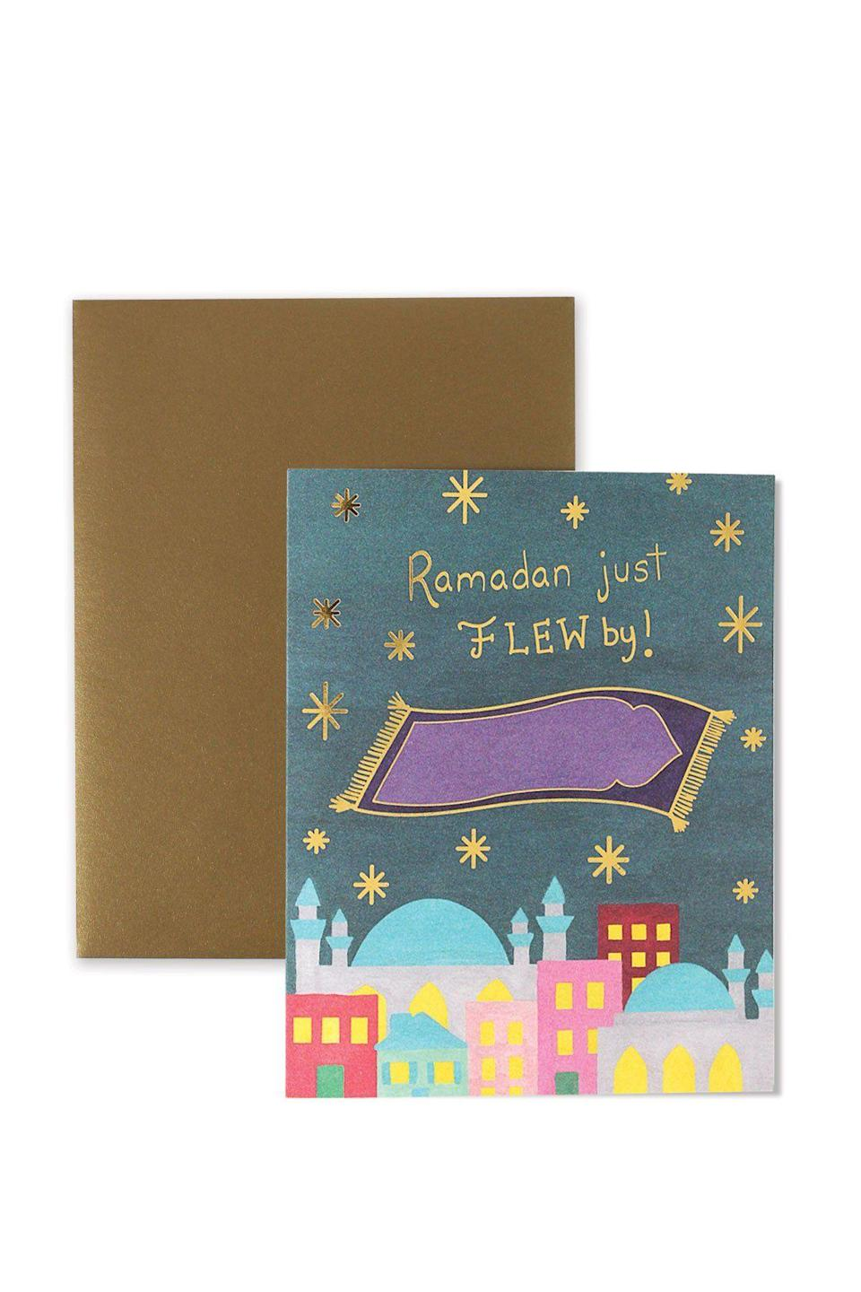 """<p><strong>Hello Holydays</strong></p><p>helloholydays.shop</p><p><strong>$4.95</strong></p><p><a href=""""https://helloholydays.shop/collections/greeting-cards-1/products/flew-by"""" rel=""""nofollow noopener"""" target=""""_blank"""" data-ylk=""""slk:Shop Now"""" class=""""link rapid-noclick-resp"""">Shop Now</a></p><p>While you might not expect cute greeting cards to be used as decor, the pieces designed by Manal Aman are often displayed around the house to usher in the spirit of the season. Mail 'em out to your loved ones with a sweet note, and they'll definitely have them on display in their own homes, too.</p>"""