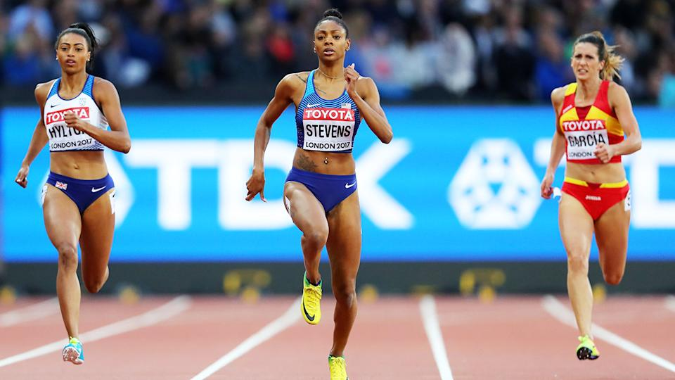 Deajah Stevens, pictured here competing at the 2017 World Athletics Championships in London.