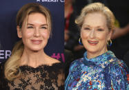"""This combination photo shows actresses Renee Zellweger, left, and Meryl Streep, who are both nominated for Grammy Awards. Zellweger, who won an Academy Award for her role as Judy Garland in """"Judy,"""" earned a Grammy nomination for best traditional pop vocal album for her performance on the soundtrack. Streep is nominated for best spoken world album for """"Charlotte's Web."""" (AP Photo)"""
