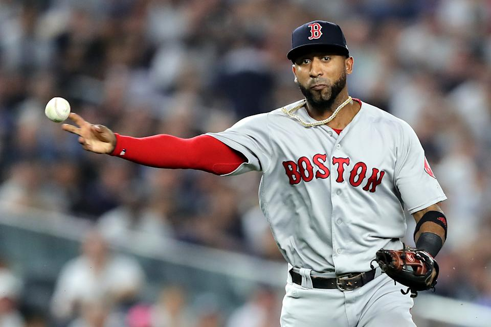 NEW YORK, NEW YORK - OCTOBER 09:  Eduardo Nunez #36 of the Boston Red Sox throws to first base against the New York Yankees 2during Game Four American League Division Series at Yankee Stadium on October 09, 2018 in the Bronx borough of New York City. (Photo by Elsa/Getty Images)