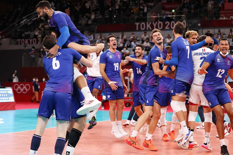 <p>Team France reacts after defeating Team ROC to win gold in Men's Volleyball. </p>