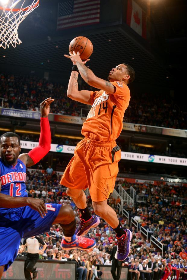 PHOENIX, AZ - MARCH 21: Gerald Green #14 of the Phoenix Suns shoots against the Detroit Pistons on March 21, 2014 at U.S. Airways Center in Phoenix, Arizona. (Photo by Barry Gossage/NBAE via Getty Images)