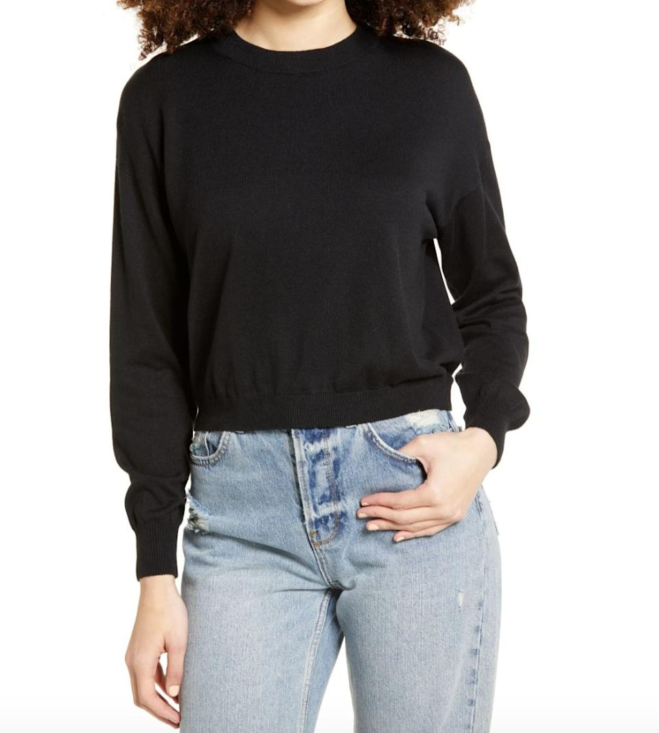 """Okay, so I spotted <a href=""""https://fave.co/2JcICsg"""" target=""""_blank"""" rel=""""noopener noreferrer"""">this sweater</a> last week at Nordstrom and thought the deal was too good to be true. So I ordered it with a little hesitancy — I mean, how would a $10 sweater feel and hold up? Fortunately, it came within a couple of days and I've already worn it twice in a row. It's soft on the skin and thin enough so you won't be sweating all day at work. The sweater is definitely loose (I got my normal size), which I actually prefer, but I'd size down if you want a tighter fit. I love it so much that I'm buying it this week in <a href=""""https://fave.co/2JcICsg"""" target=""""_blank"""" rel=""""noopener noreferrer"""">gray, sky blue</a> and this <a href=""""https://fave.co/33gWJn"""" target=""""_blank"""" rel=""""noopener noreferrer"""">pretty persimmon</a>shade.<strong>- Pardilla</strong>"""