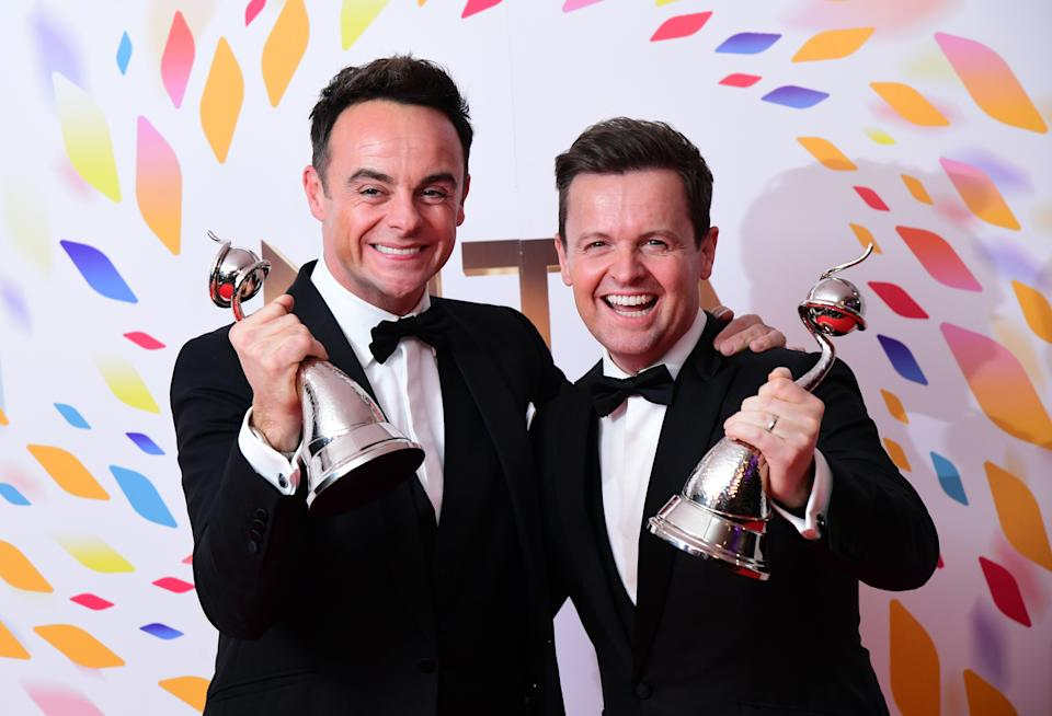 Anthony McPartlin and Declan Donnelly with the best entertainment present award in the press room during the National Television Awards at London's O2 Arena. (Photo by Ian West/PA Images via Getty Images)