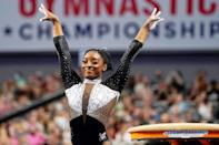 <p>Simone Biles wows the crowd after competing in the vault at the U.S. Gymnastics Championships in Fort Worth, Texas on June 6. </p>