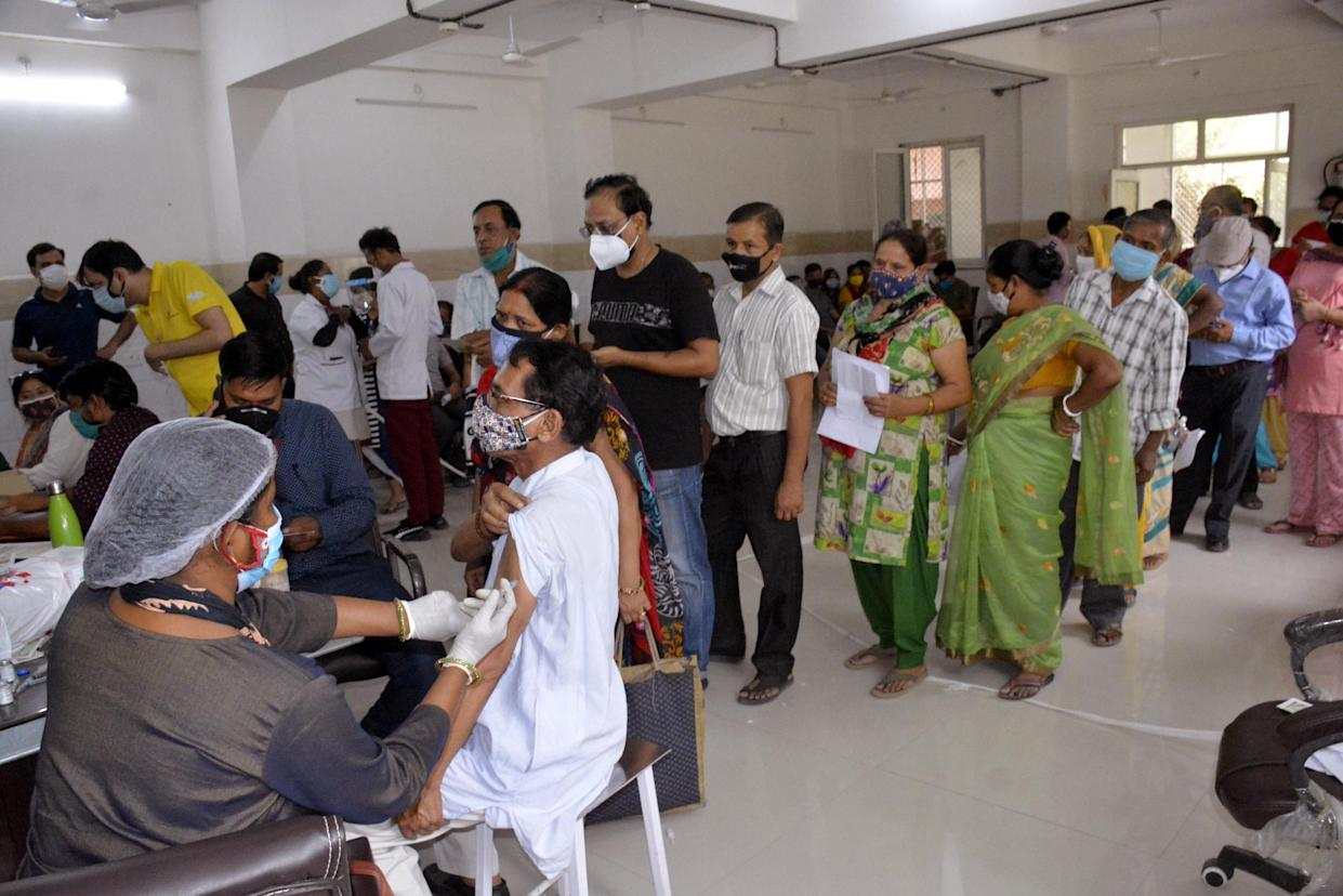 GHAZIABAD, INDIA - MAY 18: People being vaccinated against Covid-19 at Sanjay Nagar Hospital   on May 18, 2021 in Ghaziabad, India.  (Photo by Sakib Ali/Hindustan Times via Getty Images)