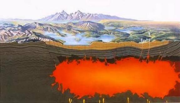 Yellowstone is an active volcano. Surface features such as geysers and hot springs are direct results of the region's underlying volcanism.
