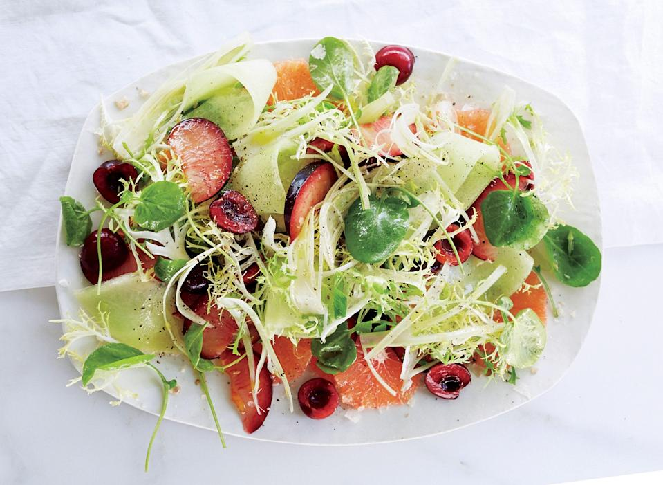 """Feel free to adapt this fruit salad as the seasons change; aim for a mix of juicy fruit (like melon), stone fruit, and berries. <a href=""""https://www.bonappetit.com/recipe/fruit-salad-fennel-watercress-smoked-salt?mbid=synd_yahoo_rss"""" rel=""""nofollow noopener"""" target=""""_blank"""" data-ylk=""""slk:See recipe."""" class=""""link rapid-noclick-resp"""">See recipe.</a>"""