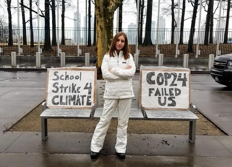 Alexandria Villaseñor protesting outside the United Nations headquarters in New York City in February.