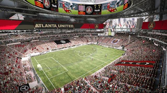 <p>Atlanta United will share Mercedes-Benz Stadium along with the Atlanta Falcons in a state-of-the-art venue.</p>