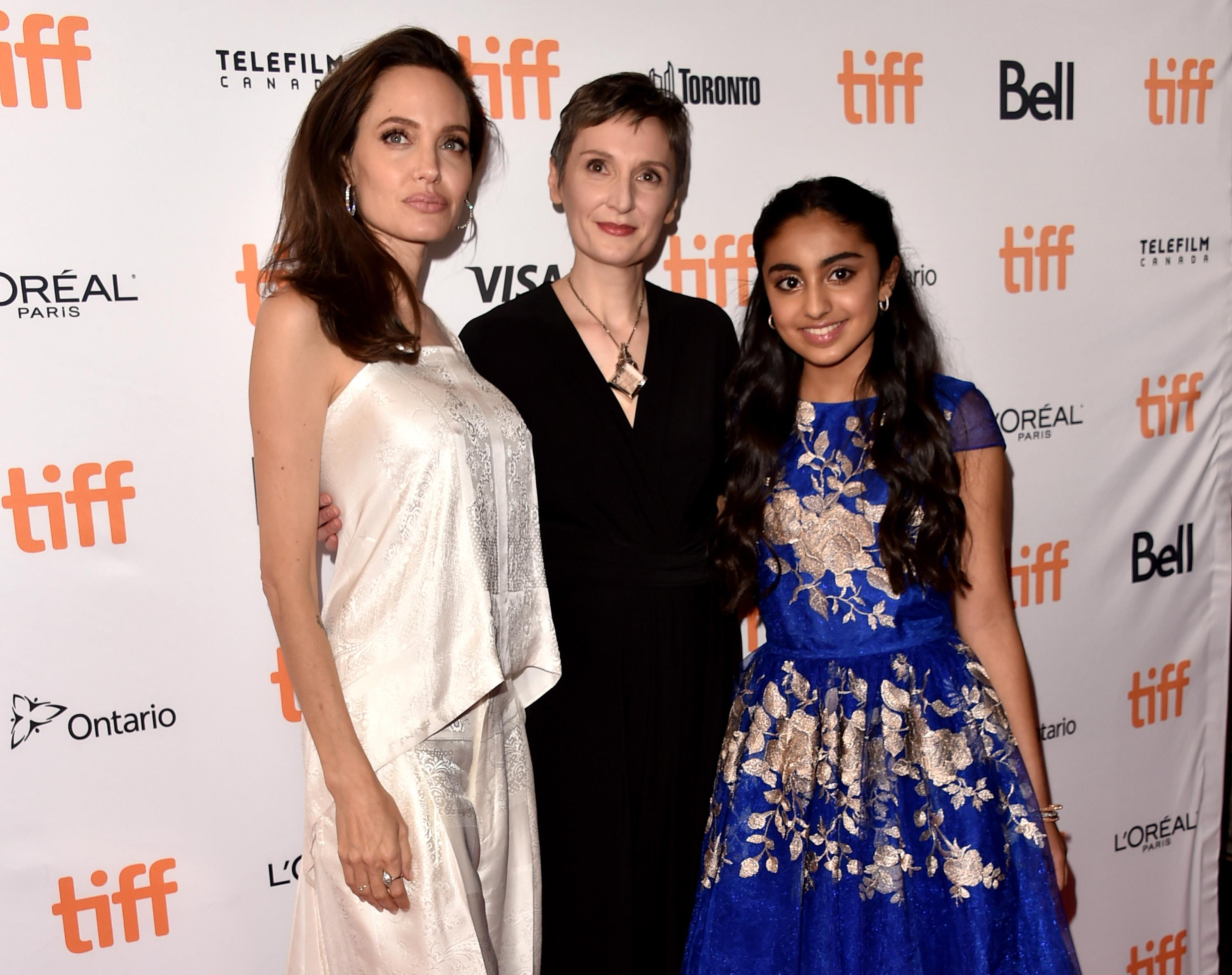 Angelina Jolie arrived in a silk Givenchy jumpsuit to the premiere of <em>The Breadwinner.</em>