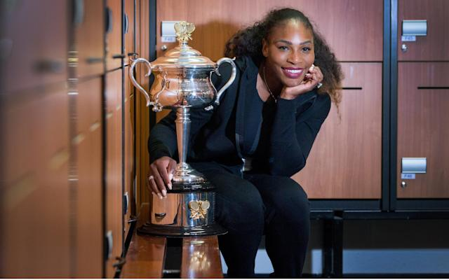 <span>Serena Williams with the 23rd major trophy she landed at the Australian Open in January</span>