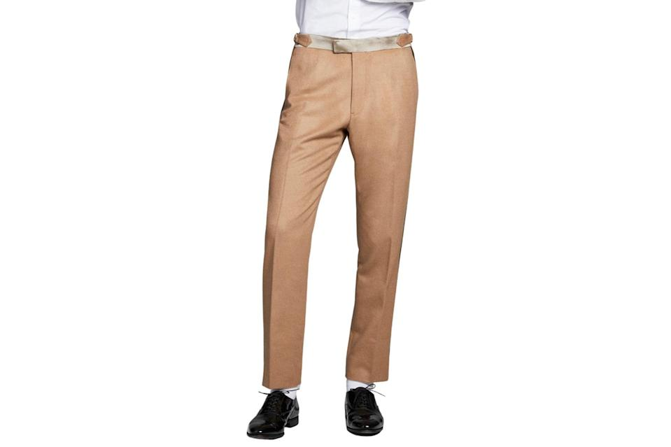 """$648, Todd Snyder. <a href=""""https://www.toddsnyder.com/collections/sale/products/camel-tuxedo-trouser-camel-1"""" rel=""""nofollow noopener"""" target=""""_blank"""" data-ylk=""""slk:Get it now!"""" class=""""link rapid-noclick-resp"""">Get it now!</a>"""