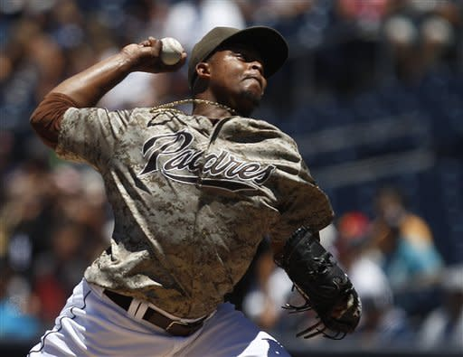 San Diego Padres starting pitcher Edinson Volquez works against the Seattle Mariners during the first inning of an interleague baseball game on Sunday, June 24, 2012, in San Diego. (AP Photo/Lenny Ignelzi)