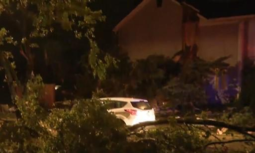 Tornado damage is seen in Naperville, Illinois late on June 20, 2021. / Credit: CBS Chicago