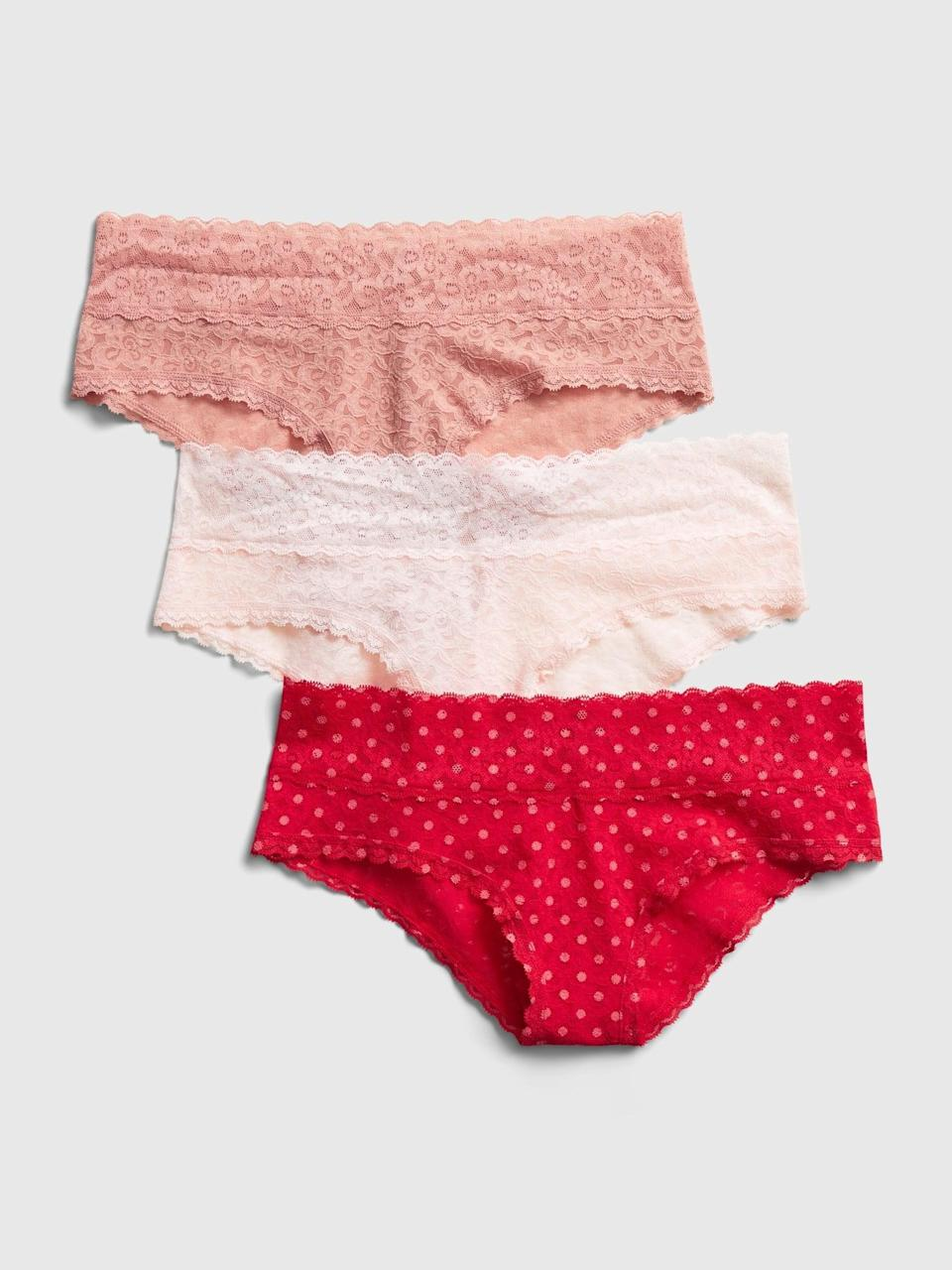 <p>Pair a great lace bra with any of these <span>Gap Lace Cheeky (3-Pack)</span> ($26) for Valentine's Day.</p>