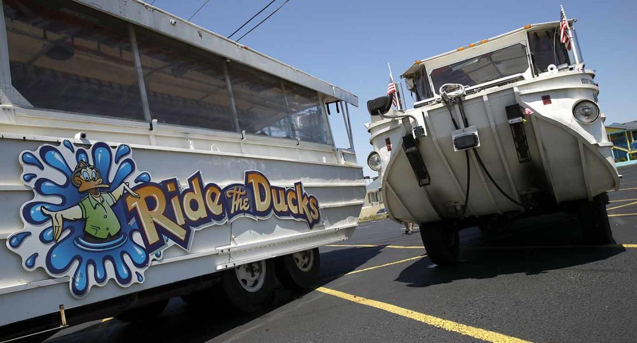 Duck boats sit idle in the parking lot of Ride the Ducks on Saturday. Source: AP Photo via AAP