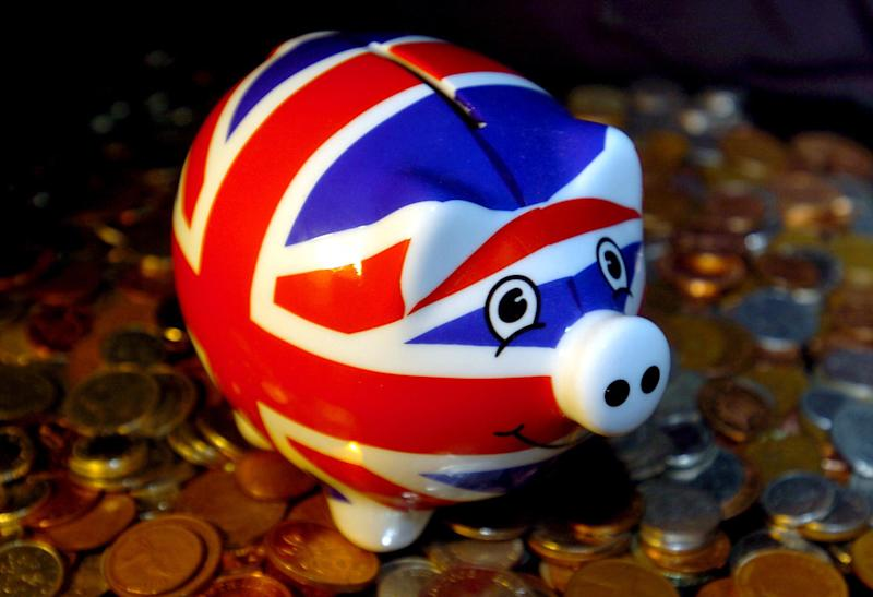 A Union Jack piggy bank on the day the UK officially went into recession.