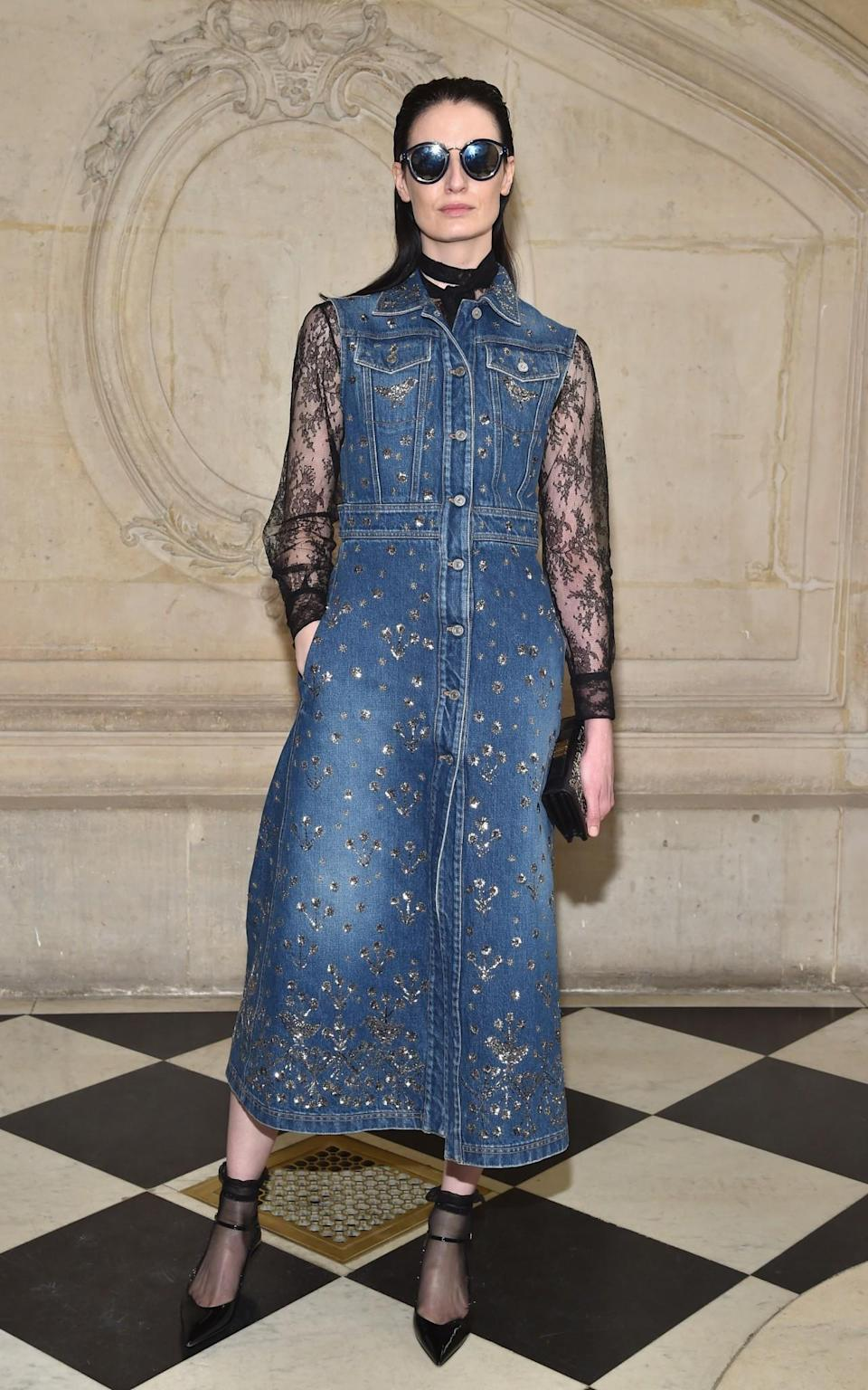 <p>Erin O'Connor opted for a sleek denim dress and lacy blouse. <i>[Photo: Getty]</i> </p>