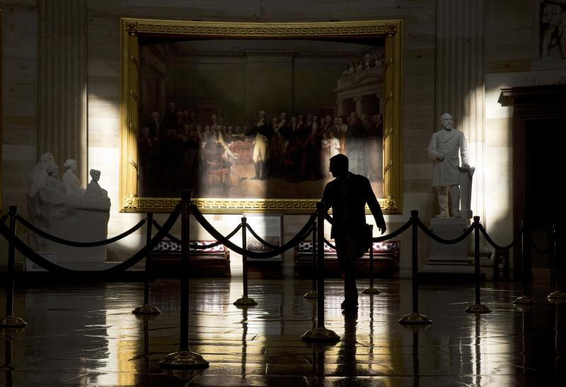 A man walks through the Rotunda of the U.S. Capitol during the partial government shutdown in Washington
