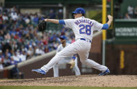 Chicago Cubs starting pitcher Kyle Hendricks delivers against the St. Louis Cardinals during the ninth inning of a baseball game, Friday, May 3, 2019, in Chicago. (AP Photo/Kamil Krzaczynski)