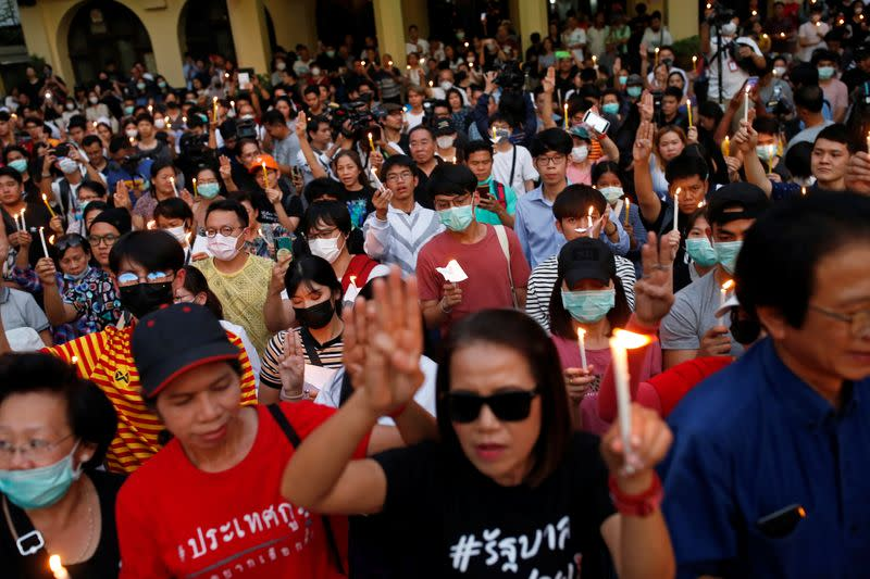 Protest against court's decision that dissolved Future Forward party at Thammasat University in Bangkok